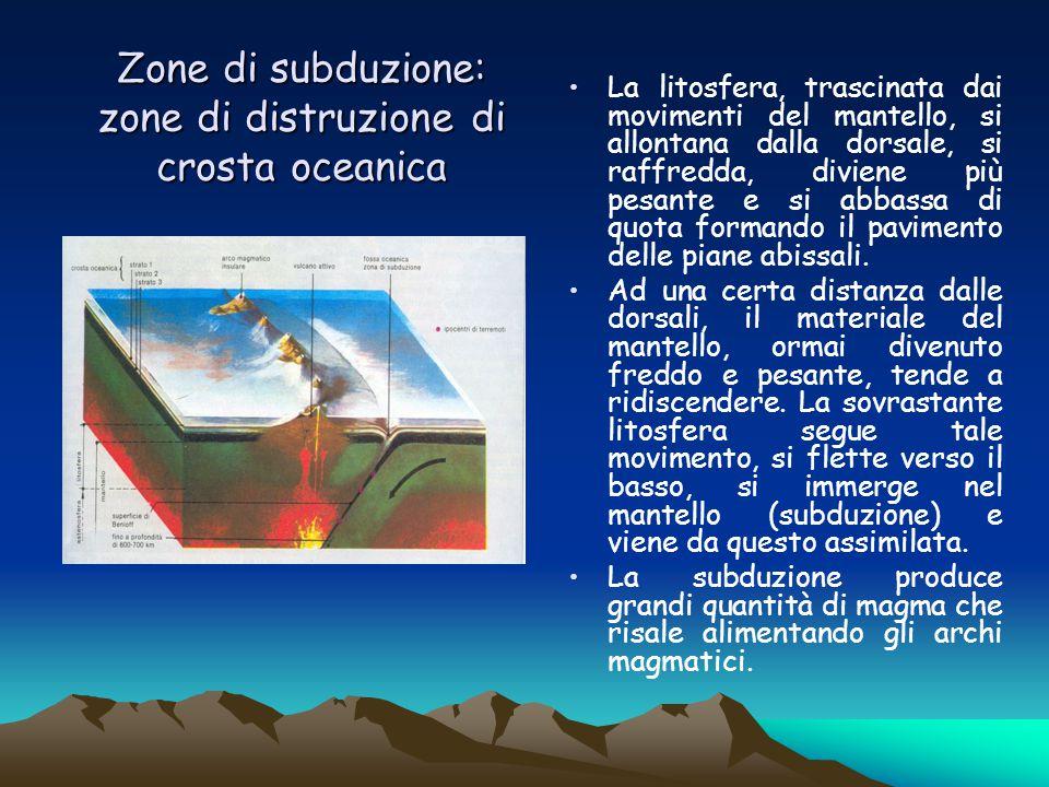 Zone di subduzione: zone di distruzione di crosta oceanica