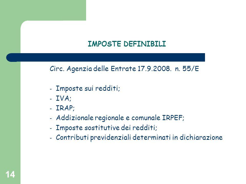 IMPOSTE DEFINIBILI Circ. Agenzia delle Entrate 17.9.2008. n. 55/E. Imposte sui redditi; IVA; IRAP;
