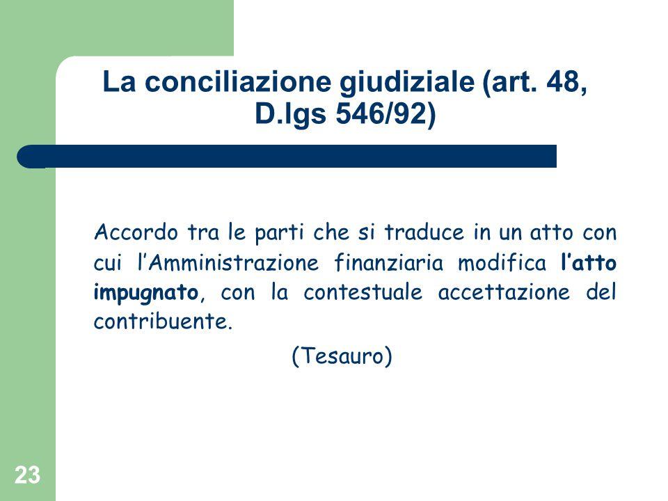 La conciliazione giudiziale (art. 48, D.lgs 546/92)