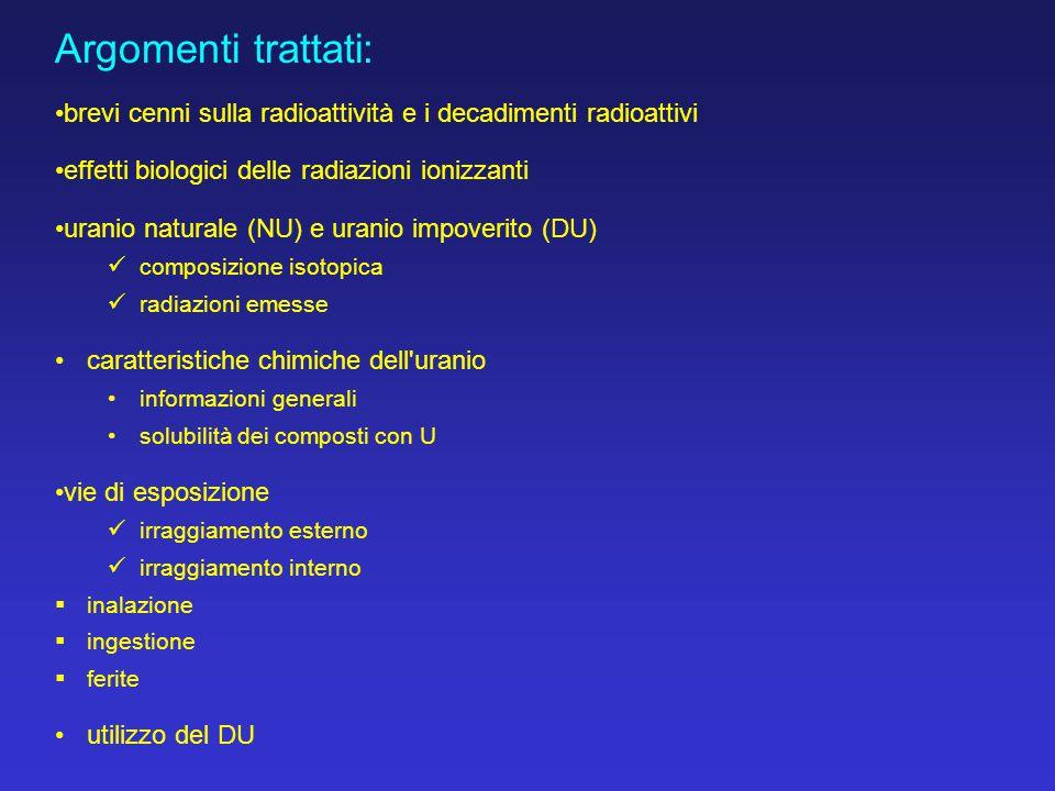 Argomenti trattati: brevi cenni sulla radioattività e i decadimenti radioattivi. effetti biologici delle radiazioni ionizzanti.