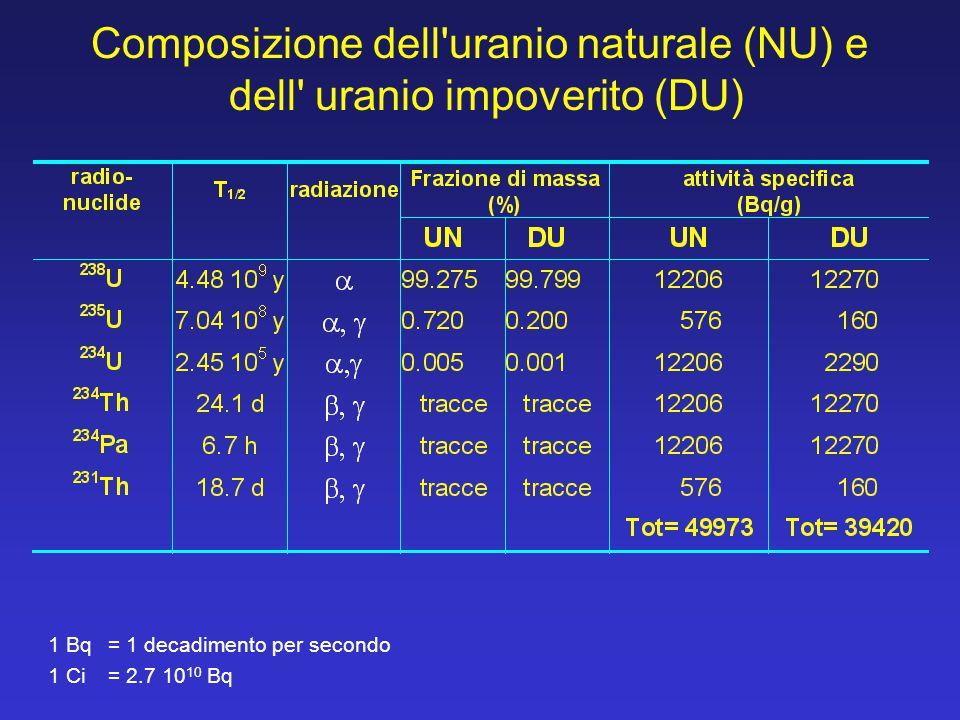 Composizione dell uranio naturale (NU) e dell uranio impoverito (DU)
