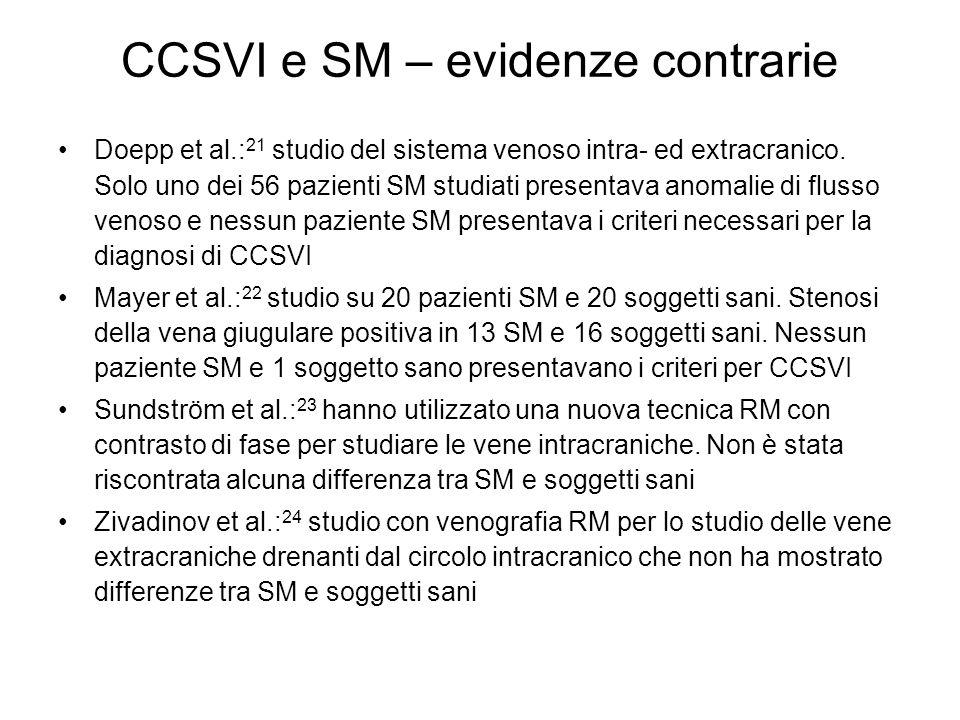 CCSVI e SM – evidenze contrarie