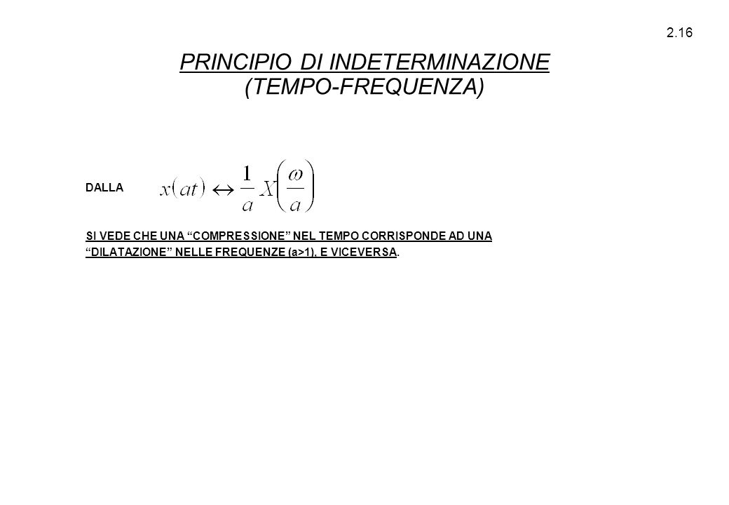 PRINCIPIO DI INDETERMINAZIONE (TEMPO-FREQUENZA)