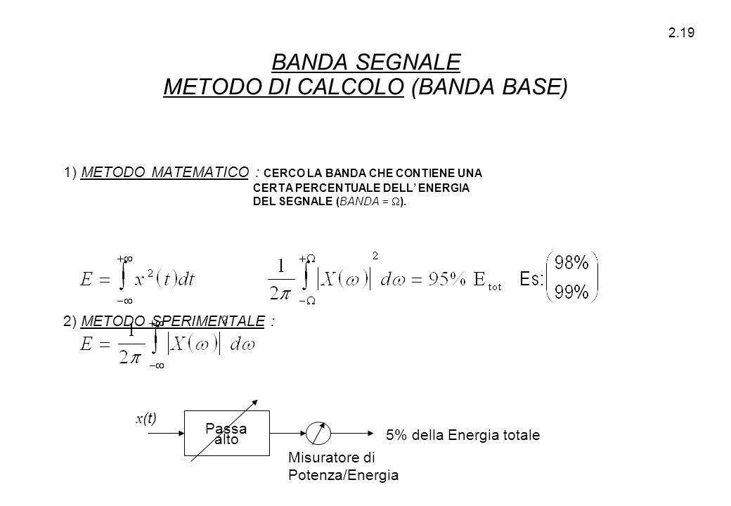 BANDA SEGNALE METODO DI CALCOLO (BANDA BASE)
