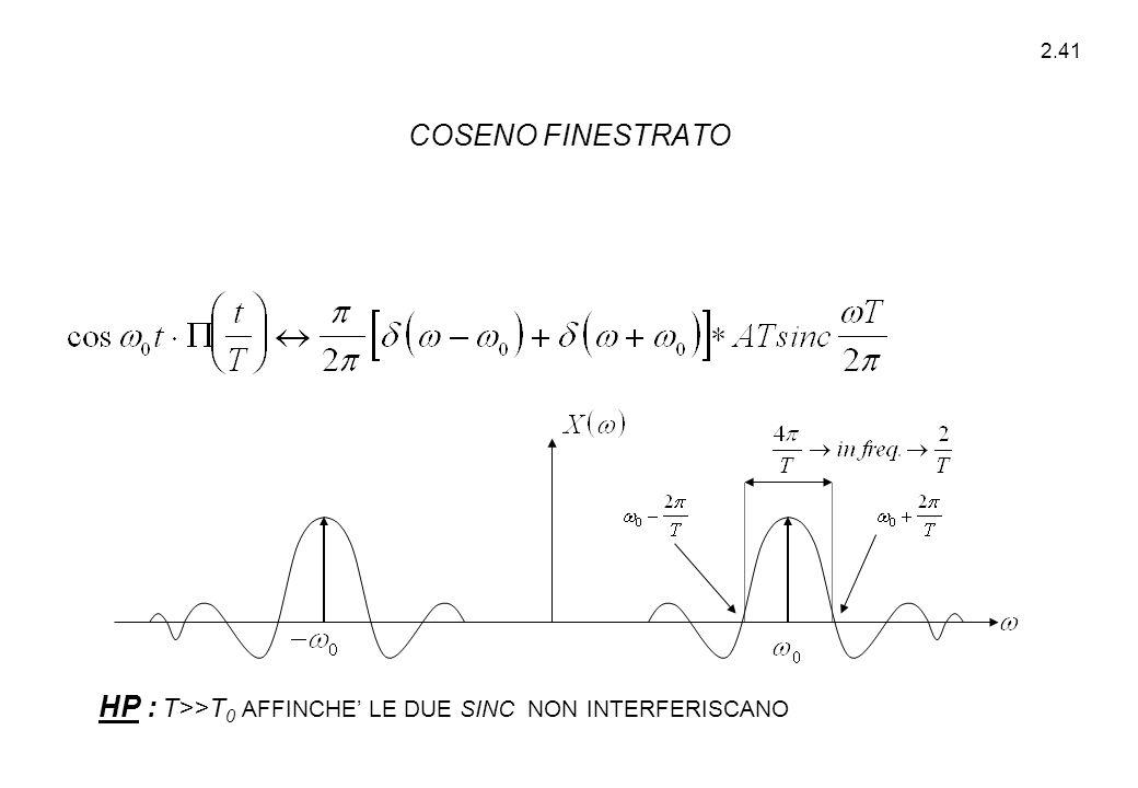 COSENO FINESTRATO HP : T>>T0 AFFINCHE' LE DUE SINC NON INTERFERISCANO