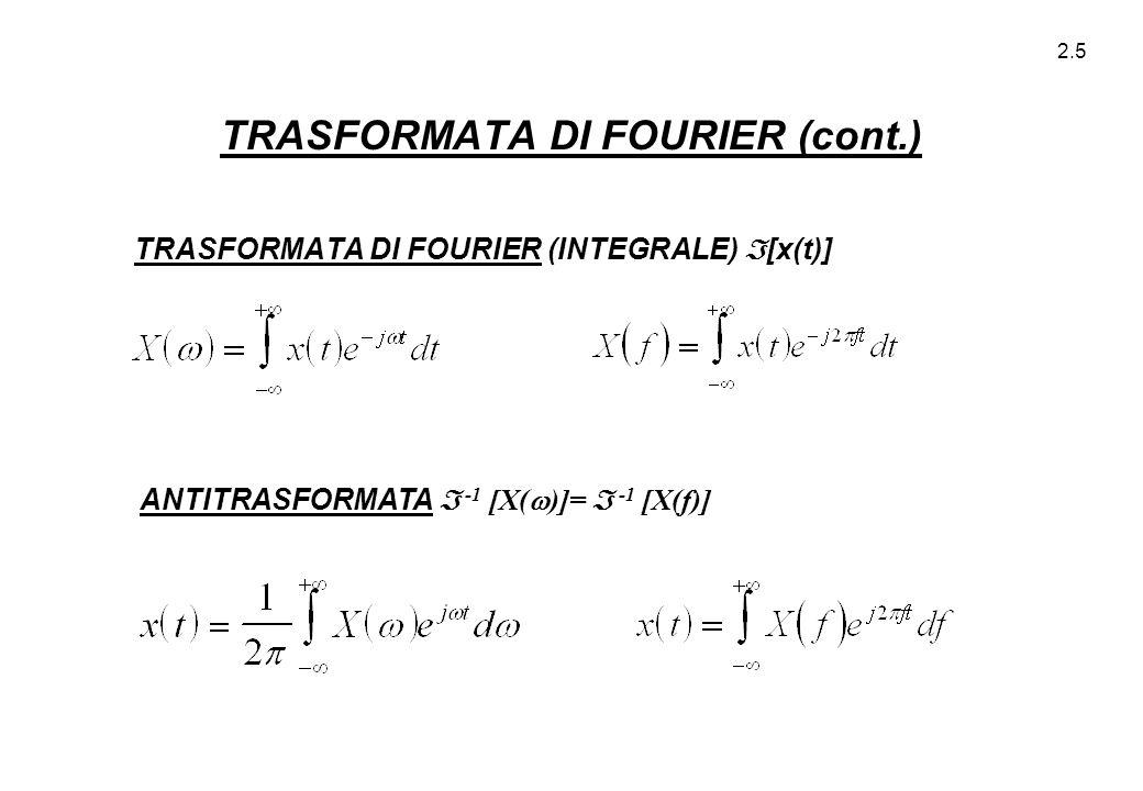 TRASFORMATA DI FOURIER (cont.)