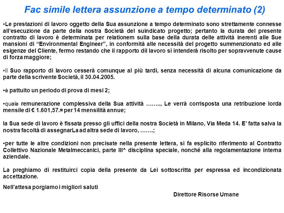 Fac simile lettera assunzione a tempo determinato (2)