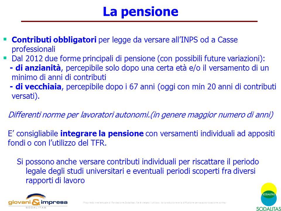 La pensione Contributi obbligatori per legge da versare all'INPS od a Casse professionali.