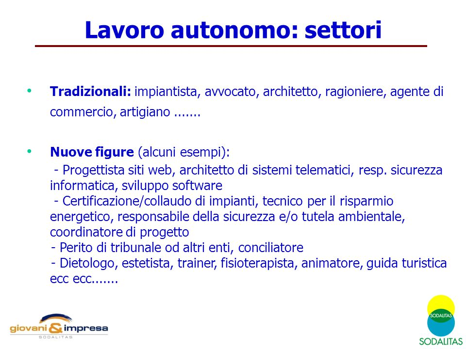Lavoro autonomo: settori