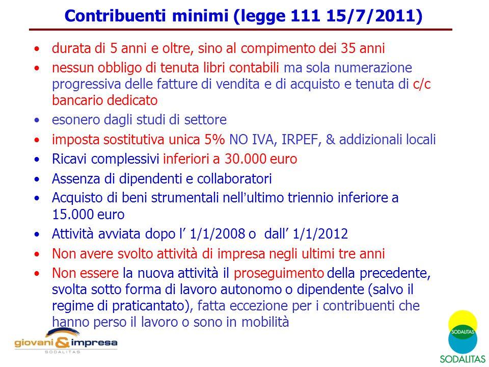 Contribuenti minimi (legge 111 15/7/2011)