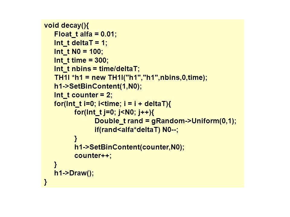 void decay(){ Float_t alfa = 0.01; Int_t deltaT = 1; Int_t N0 = 100; Int_t time = 300; Int_t nbins = time/deltaT;