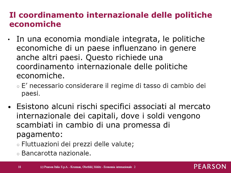 Il coordinamento internazionale delle politiche economiche