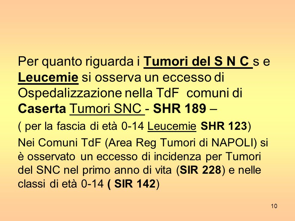 Per quanto riguarda i Tumori del S N C s e Leucemie si osserva un eccesso di Ospedalizzazione nella TdF comuni di Caserta Tumori SNC - SHR 189 –