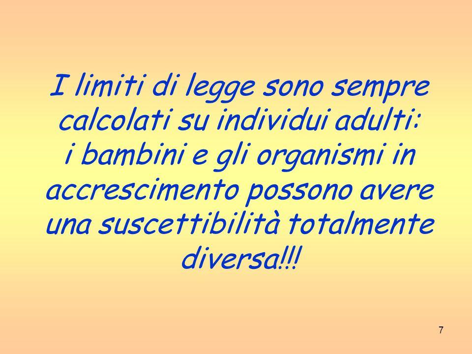 I limiti di legge sono sempre calcolati su individui adulti: i bambini e gli organismi in accrescimento possono avere una suscettibilità totalmente diversa!!!