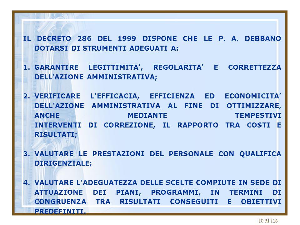 IL DECRETO 286 DEL 1999 DISPONE CHE LE P. A