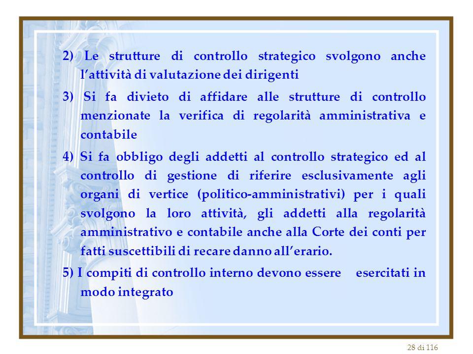 2) Le strutture di controllo strategico svolgono anche l'attività di valutazione dei dirigenti
