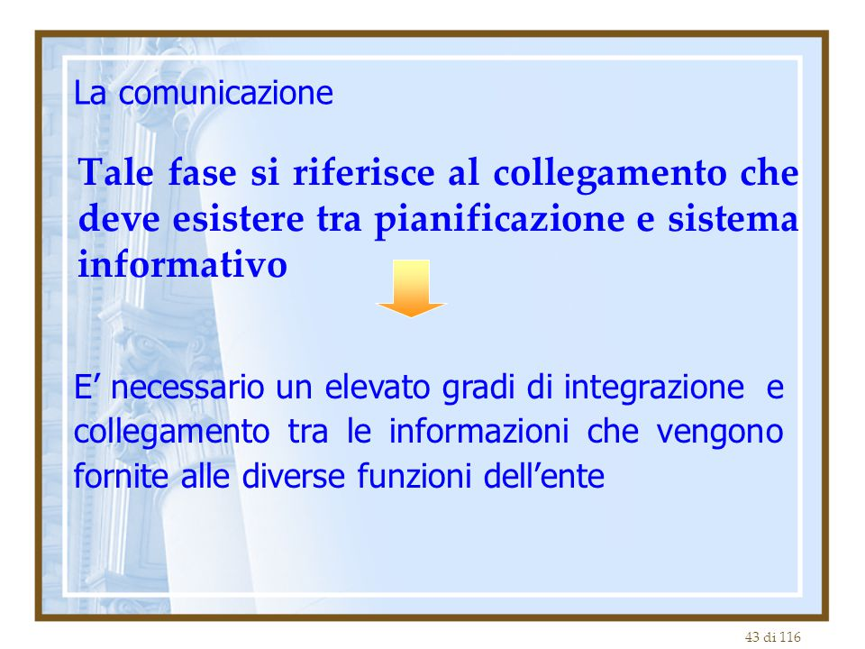 La comunicazione Tale fase si riferisce al collegamento che deve esistere tra pianificazione e sistema informativo.