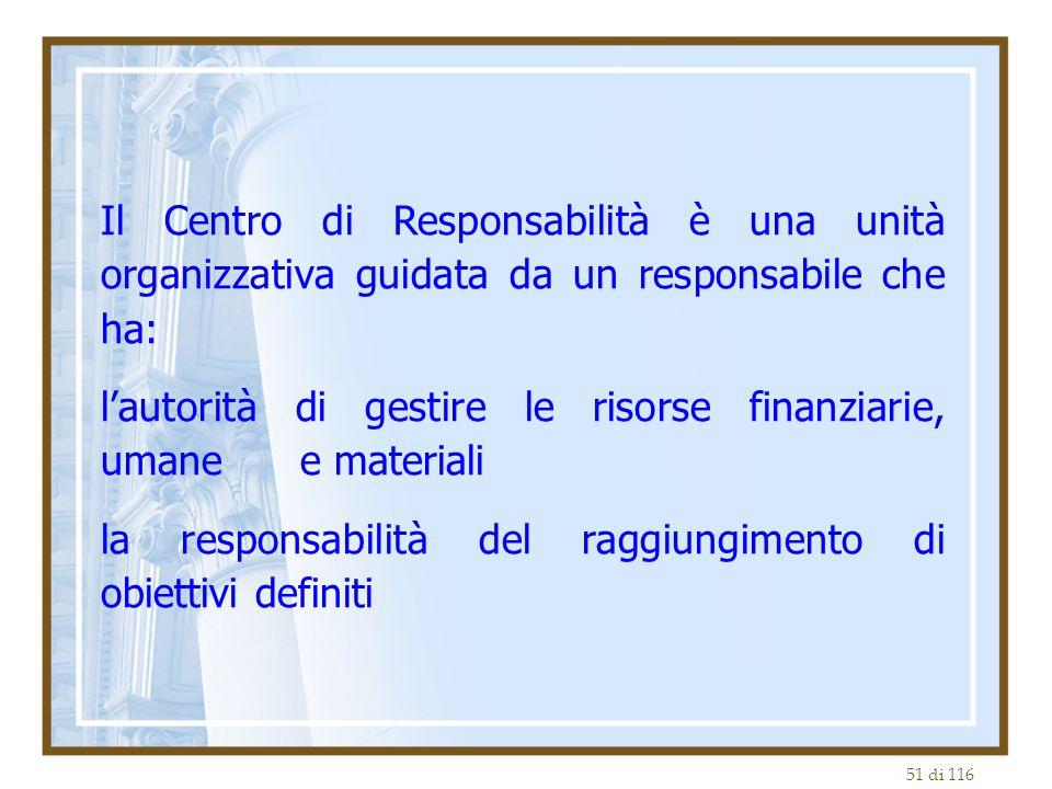 Il Centro di Responsabilità è una unità organizzativa guidata da un responsabile che ha: