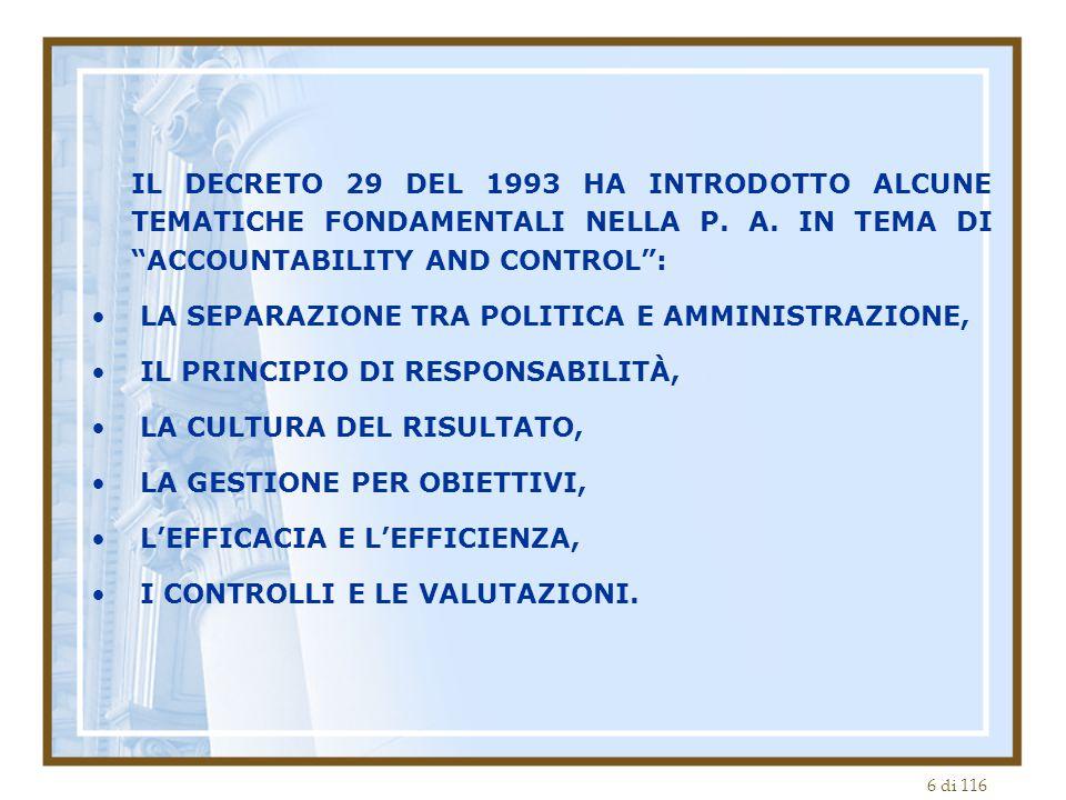 IL DECRETO 29 DEL 1993 HA INTRODOTTO ALCUNE TEMATICHE FONDAMENTALI NELLA P. A. IN TEMA DI ACCOUNTABILITY AND CONTROL :