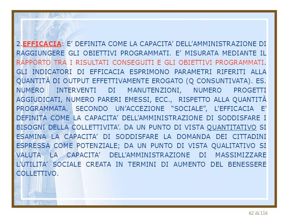 2.EFFICACIA: E' DEFINITA COME LA CAPACITA' DELL'AMMINISTRAZIONE DI RAGGIUNGERE GLI OBIETTIVI PROGRAMMATI.