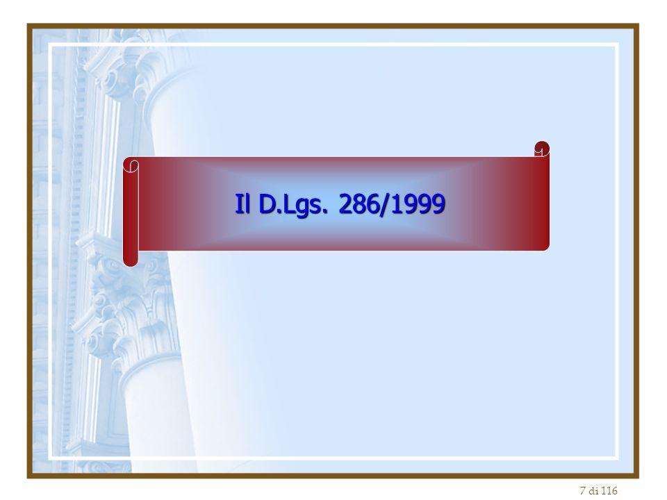 Il D.Lgs. 286/1999
