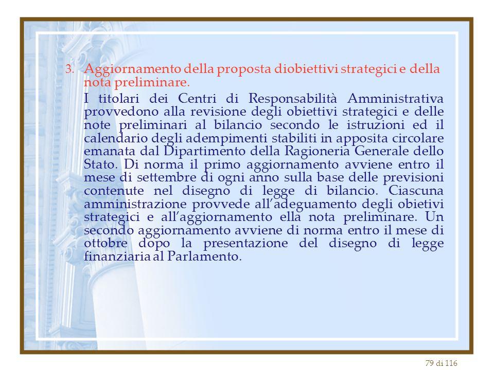 3. Aggiornamento della proposta diobiettivi strategici e della nota preliminare.
