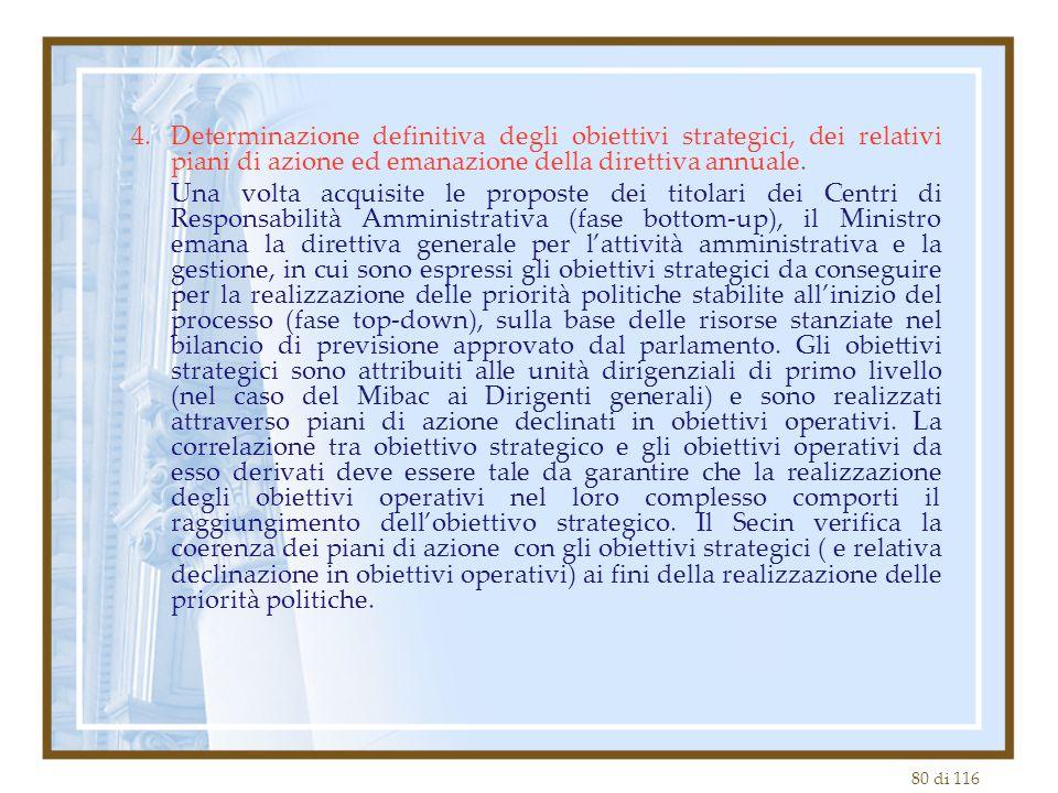 Determinazione definitiva degli obiettivi strategici, dei relativi piani di azione ed emanazione della direttiva annuale.
