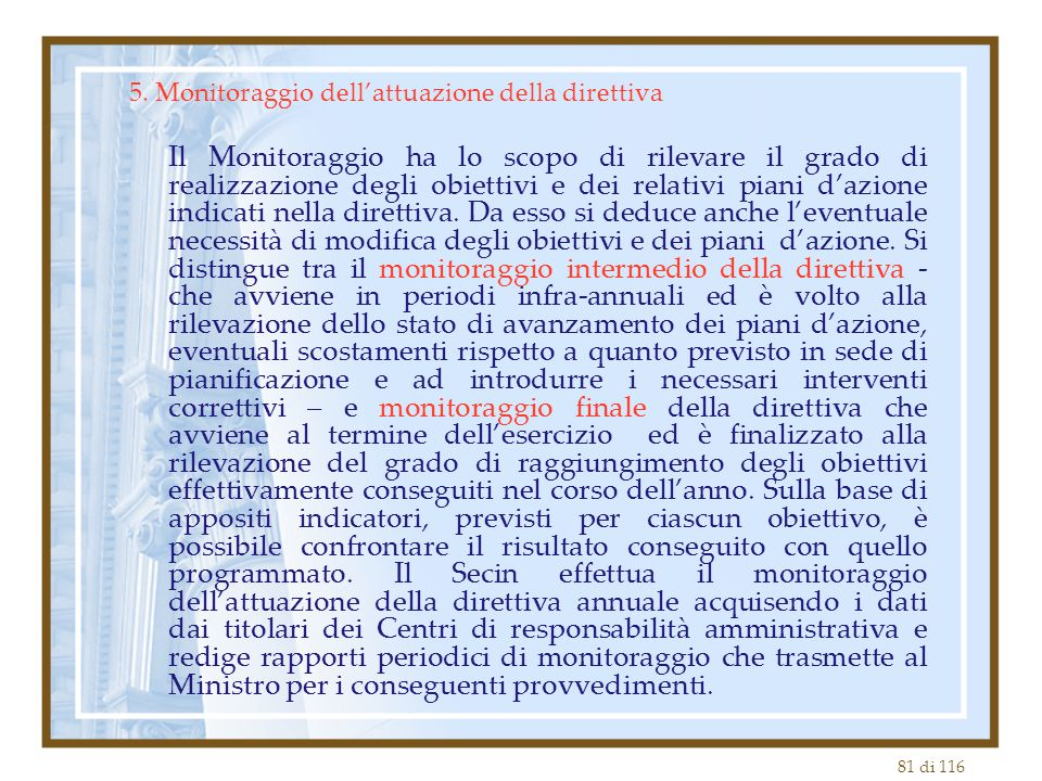 5. Monitoraggio dell'attuazione della direttiva