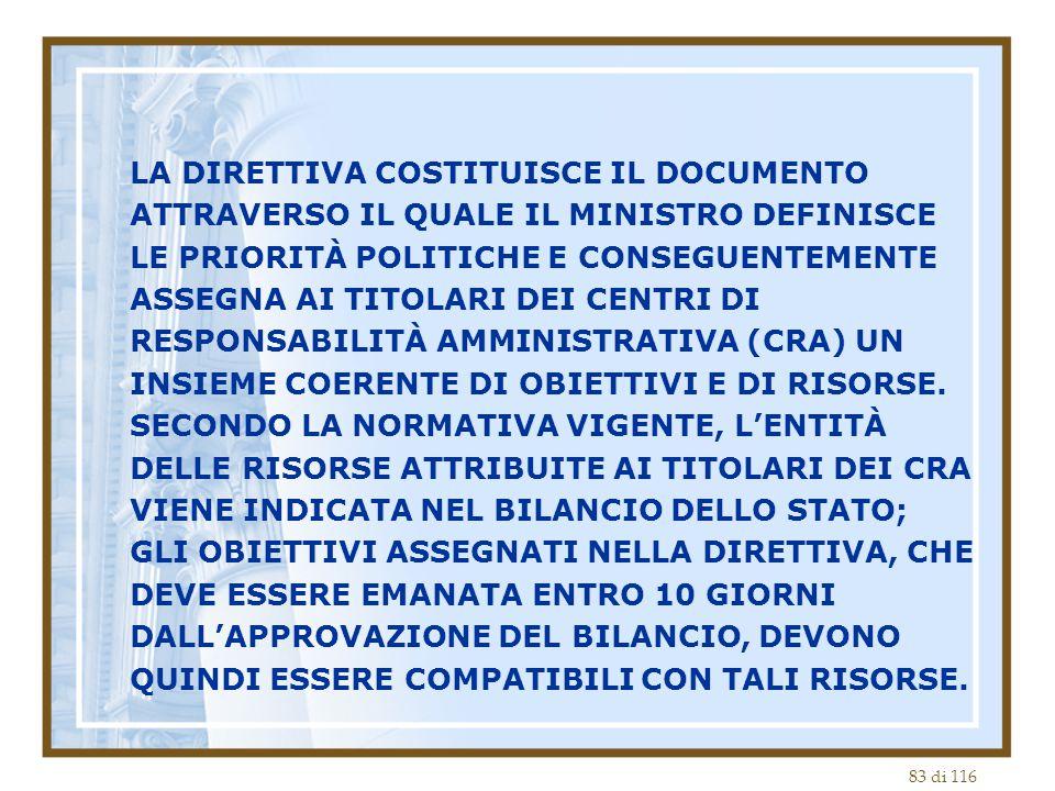 LA DIRETTIVA COSTITUISCE IL DOCUMENTO ATTRAVERSO IL QUALE IL MINISTRO DEFINISCE LE PRIORITÀ POLITICHE E CONSEGUENTEMENTE ASSEGNA AI TITOLARI DEI CENTRI DI RESPONSABILITÀ AMMINISTRATIVA (CRA) UN INSIEME COERENTE DI OBIETTIVI E DI RISORSE.