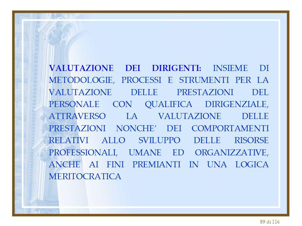 VALUTAZIONE DEI DIRIGENTI: INSIEME DI METODOLOGIE, PROCESSI E STRUMENTI PER LA VALUTAZIONE DELLE PRESTAZIONI DEL PERSONALE CON QUALIFICA DIRIGENZIALE, ATTRAVERSO LA VALUTAZIONE DELLE PRESTAZIONI NONCHE' DEI COMPORTAMENTI RELATIVI ALLO SVILUPPO DELLE RISORSE PROFESSIONALI, UMANE ED ORGANIZZATIVE, ANCHE AI FINI PREMIANTI IN UNA LOGICA MERITOCRATICA