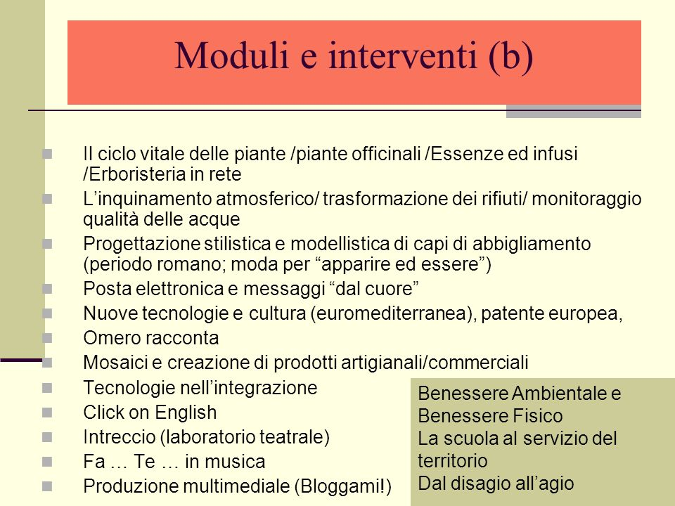 Moduli e interventi (b)