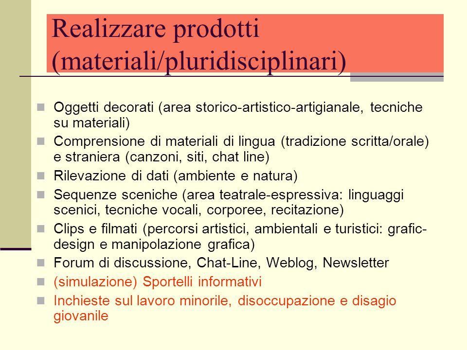 Realizzare prodotti (materiali/pluridisciplinari)