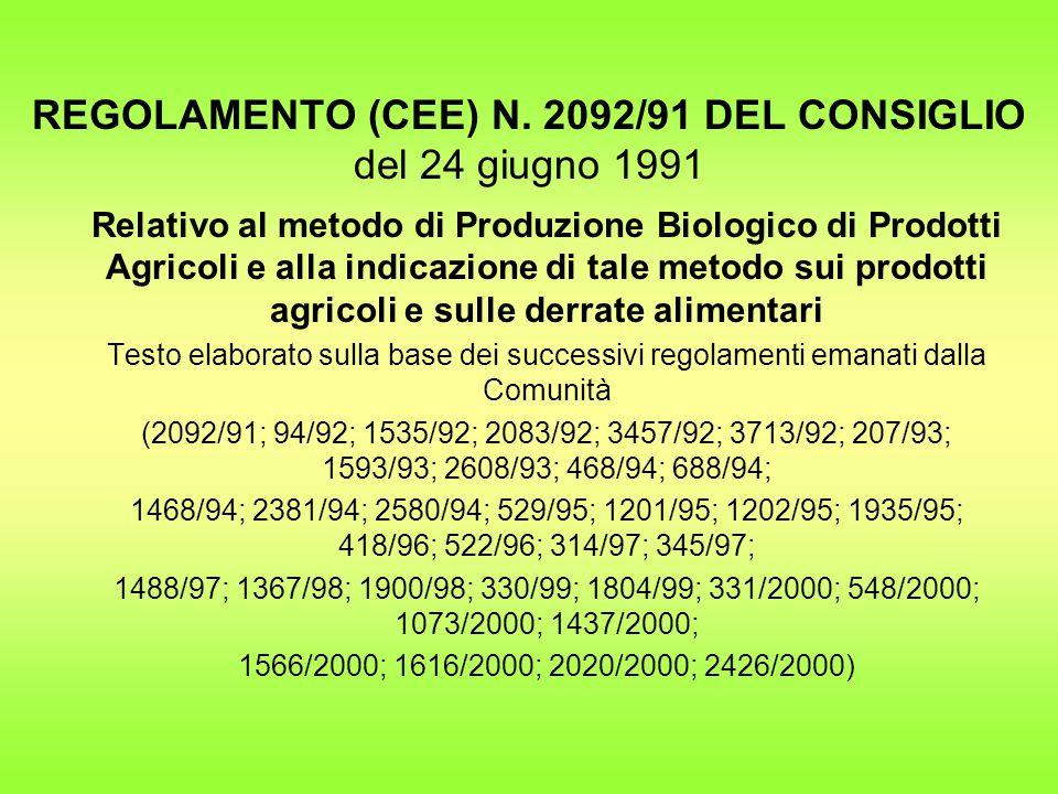 REGOLAMENTO (CEE) N. 2092/91 DEL CONSIGLIO del 24 giugno 1991