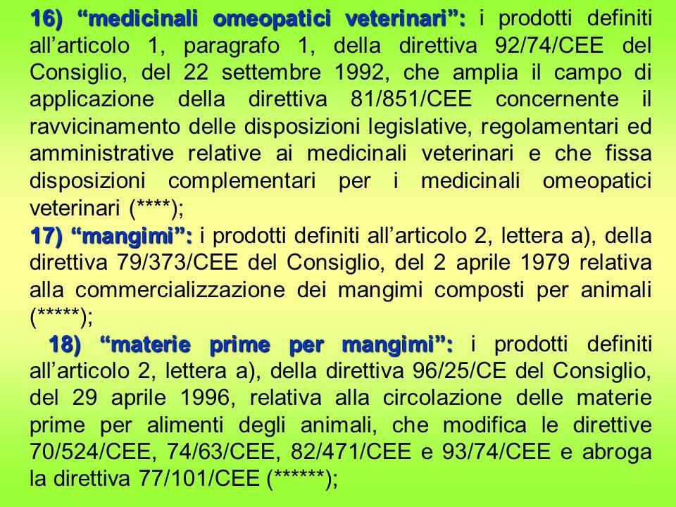 16) medicinali omeopatici veterinari : i prodotti definiti all'articolo 1, paragrafo 1, della direttiva 92/74/CEE del Consiglio, del 22 settembre 1992, che amplia il campo di applicazione della direttiva 81/851/CEE concernente il ravvicinamento delle disposizioni legislative, regolamentari ed amministrative relative ai medicinali veterinari e che fissa disposizioni complementari per i medicinali omeopatici veterinari (****);