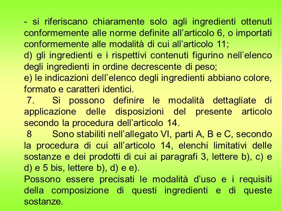- si riferiscano chiaramente solo agli ingredienti ottenuti conformemente alle norme definite all'articolo 6, o importati conformemente alle modalità di cui all'articolo 11;
