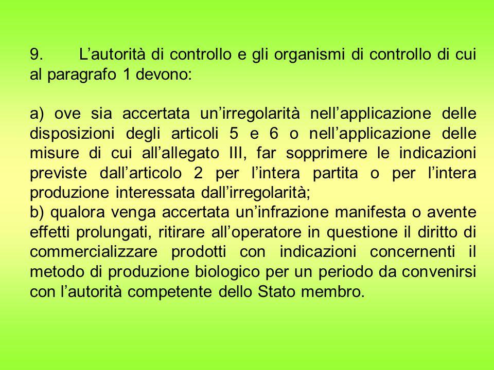 9. L'autorità di controllo e gli organismi di controllo di cui al paragrafo 1 devono: