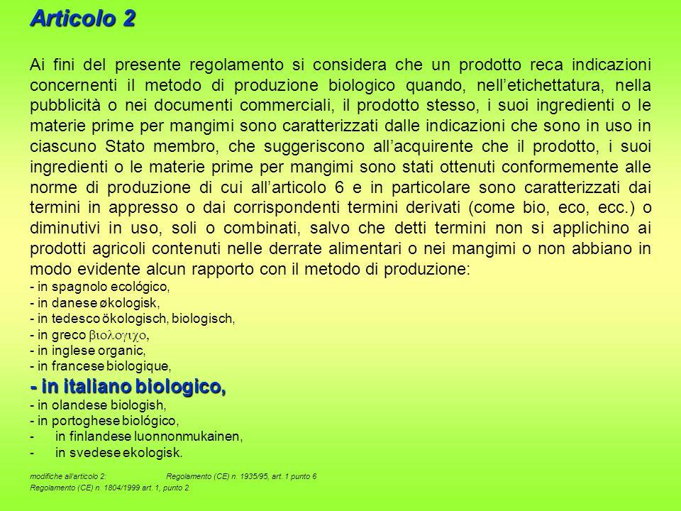 Articolo 2 - in italiano biologico,