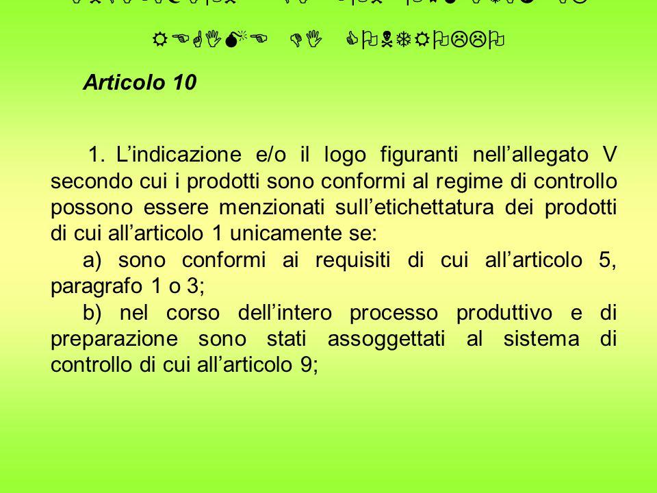 INDICAZIONE DI CONFORMITA' AL REGIME DI CONTROLLO