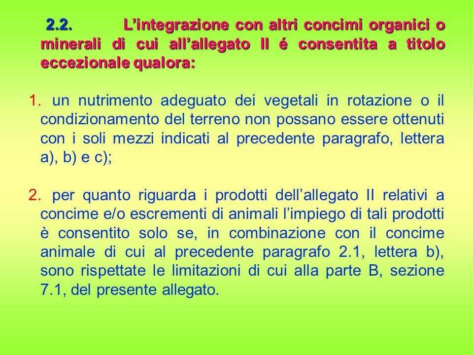 2.2. L'integrazione con altri concimi organici o minerali di cui all'allegato II é consentita a titolo eccezionale qualora: