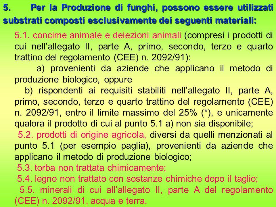 5. Per la Produzione di funghi, possono essere utilizzati substrati composti esclusivamente dei seguenti materiali: