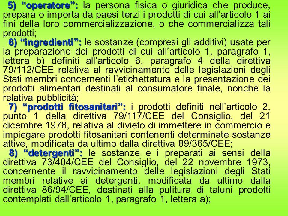 5) operatore : la persona fisica o giuridica che produce, prepara o importa da paesi terzi i prodotti di cui all'articolo 1 ai fini della loro commercializzazione, o che commercializza tali prodotti;