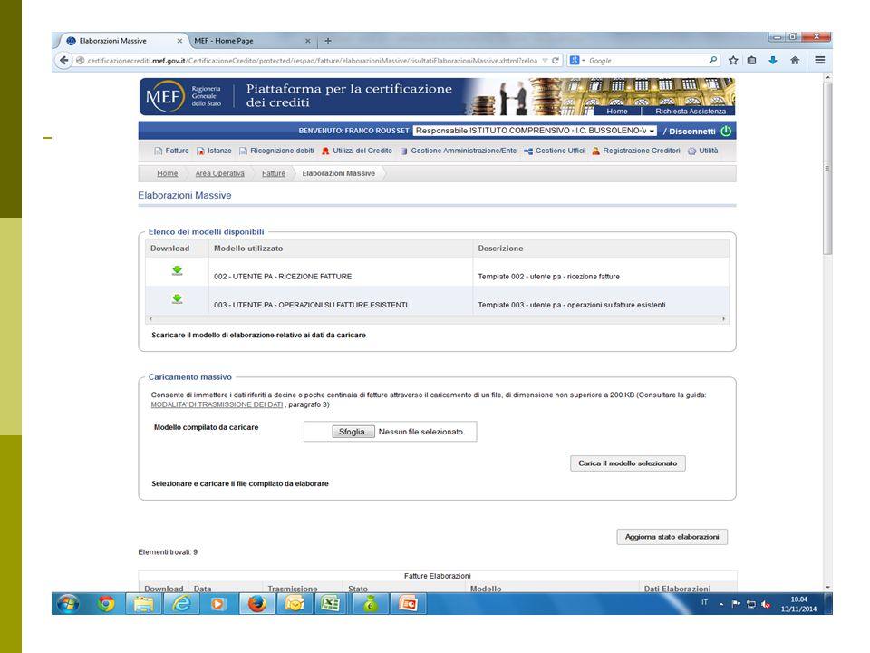 Attraverso il Sfoglia caricare il file salvato in formato CSV e cliccare su carica il modello selezionato