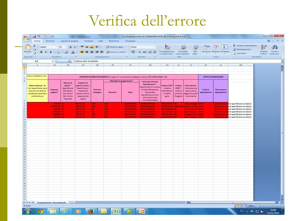 Verifica dell'errore