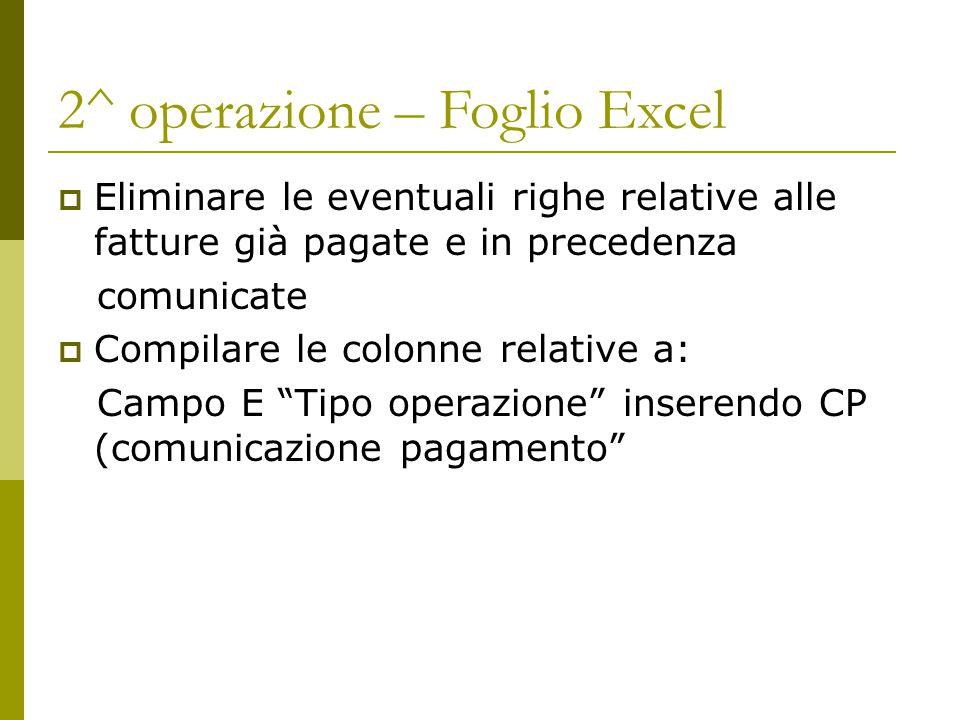 2^ operazione – Foglio Excel
