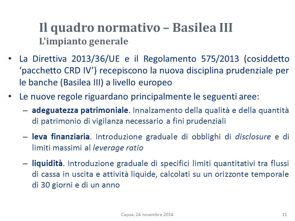Il quadro normativo – Basilea III L impianto generale