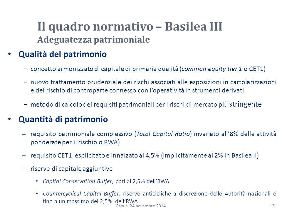 Il quadro normativo – Basilea III Adeguatezza patrimoniale
