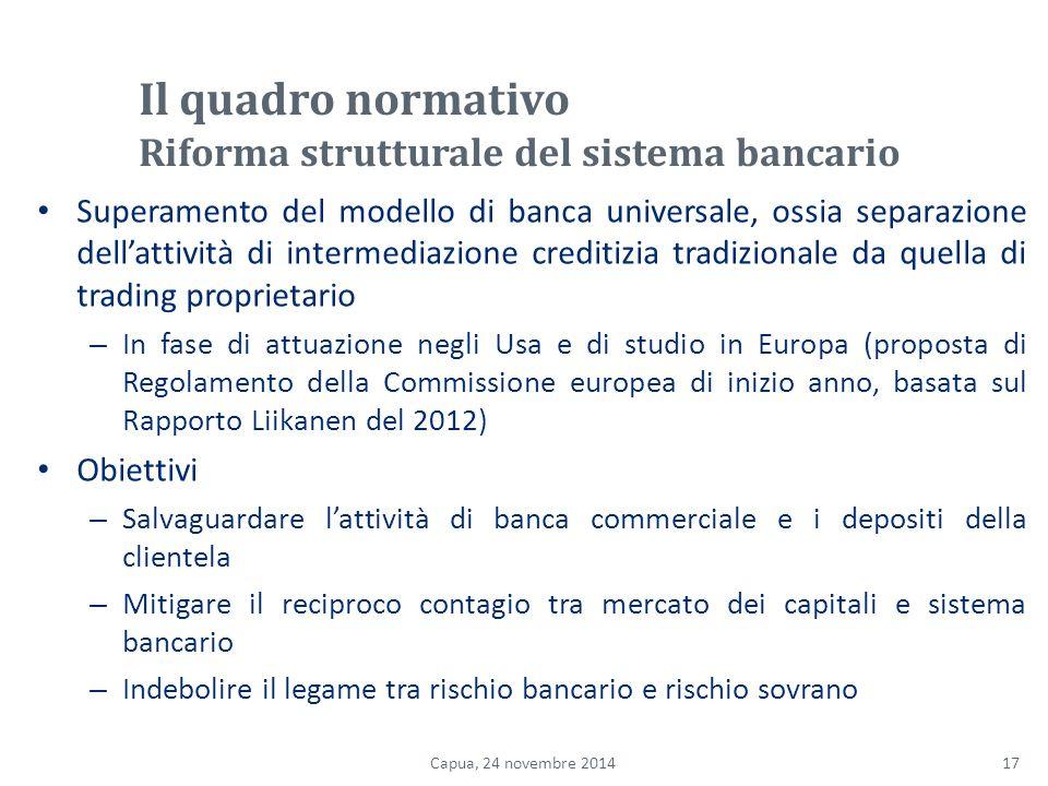 Il quadro normativo Riforma strutturale del sistema bancario