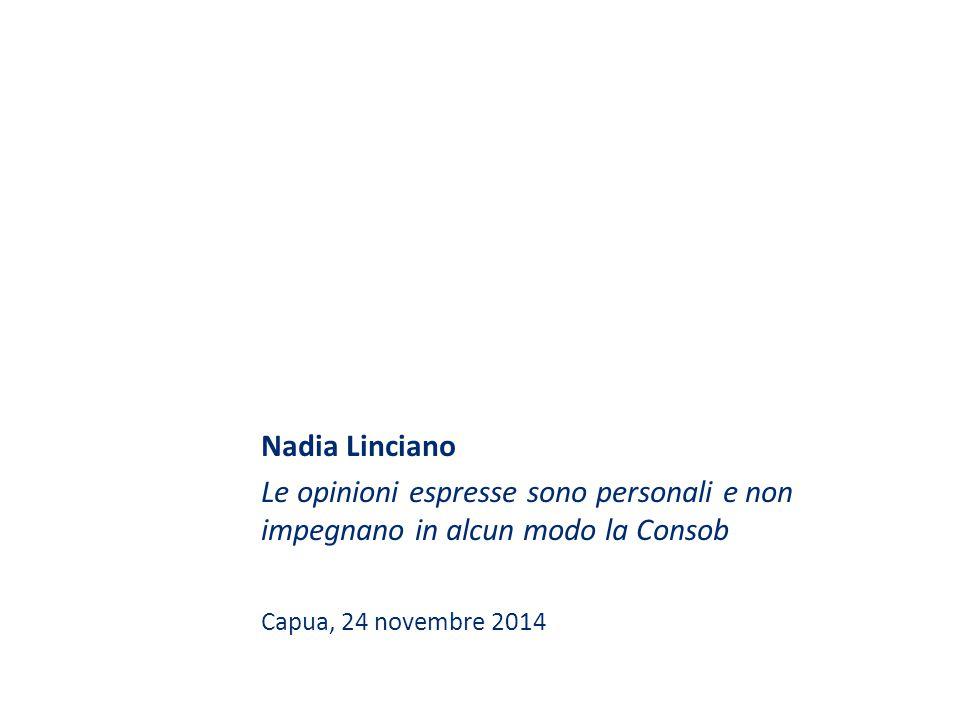 Nadia Linciano Le opinioni espresse sono personali e non impegnano in alcun modo la Consob.