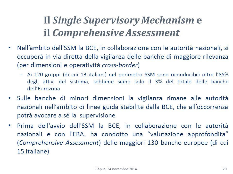 Il Single Supervisory Mechanism e il Comprehensive Assessment