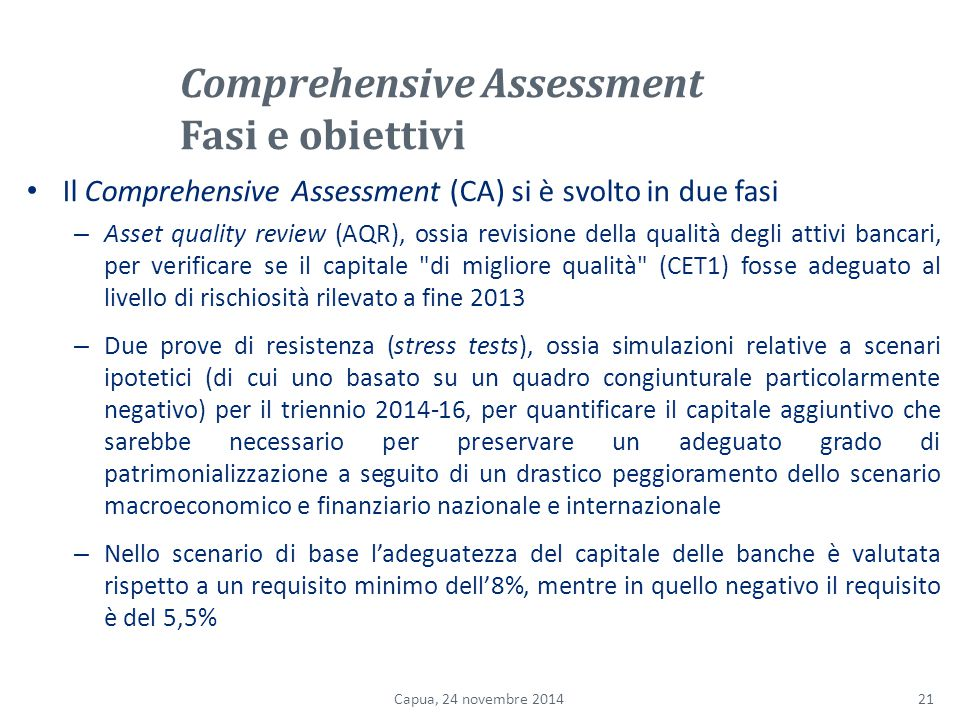 Comprehensive Assessment Fasi e obiettivi